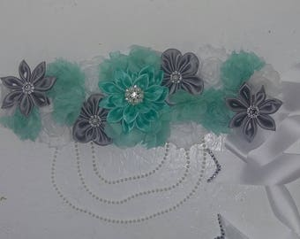Mint silver and white maternity sash
