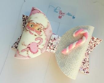 Pink Santa Bow, Christmas Bows, Santa Gift, Santa Hair Bow, Girls Hair Bows, Pink Santa, Baby Headbands, Girls Hair Clip