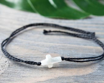 White Cross String Bracelet Black String Bracelet Christian Cross Bracelet Protection Bracelet Wish Bracelet Black Cord Pearl Shell Cross