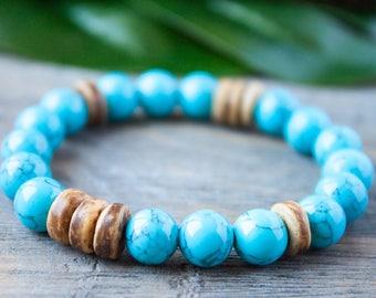 Blue Brown Bracelet Turquoise Bracelet Matching Bracelet Stacking Coconut Bracelet Long Distance Relationship Bracelet Lgbt Couple Bracelet