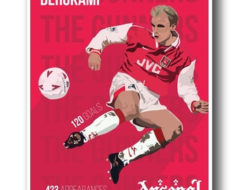 A3 Arsenal FC Dennis Bergkamp wall poster, retro classic style Arsenal Football Club The Gunners