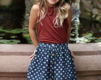 blue skirt with polka dots