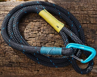 Rope and Leather Dog Leash ~ Black with Blue Thread and Yellow Leather ~ Medium and Large Size Dog ~ Light Carabiner ~ Horse Lead Rope