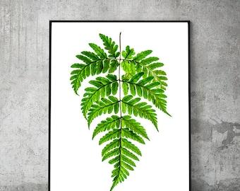 fern print,green wall art,tropical print,fern leaf,fern printable,tropical leaves,botanical print,plant prints,digital download,minimalist,