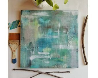 Lichen Brush // Nature Inspired Abstract Expressionist Painting. Original Acrylic Artwork. 16x16. Green, blue, brown + silver.