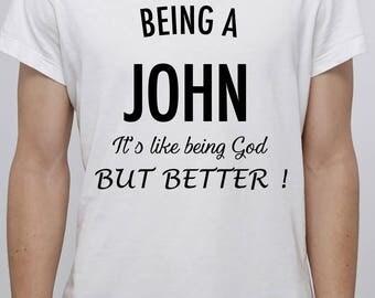 Personnalized white t-shirt - Custom t-shirt - Being a god-B-WG-