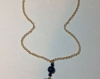 "Natural woman ""Lapis lazuli and dumortierite her heart"" necklace"