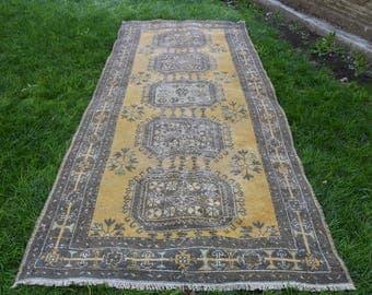 Runner Area Rug 4.6 x 11.6 feet Vintage Turkish Runner Rug Floor Rug Oushak Rug Bohemian Rug Handknotted Wool Rug İnterior Rug DC567