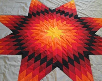 Authentic native american star quilt Tan