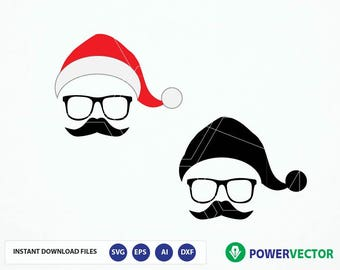 Santa Face Svg. Hipster Santa Svg, Santa Clipart, Hipster SVG, Christmas Svg Dxf Png Cut Files for with Silhouette & Cricut. Santa Iron on