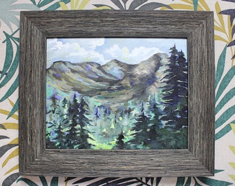 Framed Oil Painting on Paper (Framed) - Mountain Landscape, Forest, Cabin Chic Decor, Wood Framed Painting