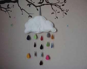 Mobile cloud and colorful drops of rain