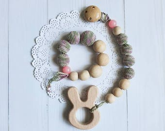 Wooden teether Set of teething ring & wooden pacifier clip Tething toy Teething  Newborn toy First toy Wooden bunny Bunny toy Baby toy