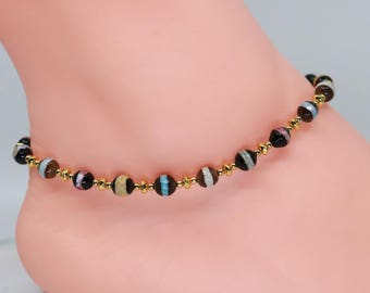 Gold beach anklet, agate, gift for mom, anniversary gift