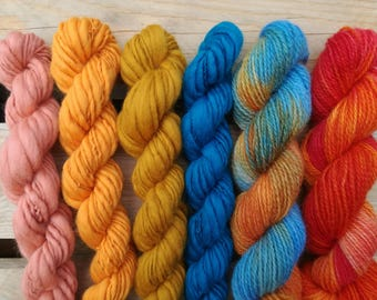 Weaving Yarn Pack - Handspun Handdyed Art Yarn single thick and thin laine teinte filée main tissage