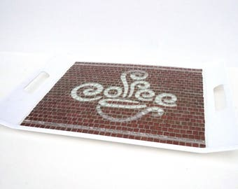 Glass Mosaic Serving Tray Decorative Coffee Word with a Cup