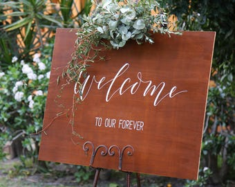 Wedding Welcome Sign. Welcome To Our Forever Wooden Signs. Vintage Wedding Decoration. Event Signage. Ceremony Decor.