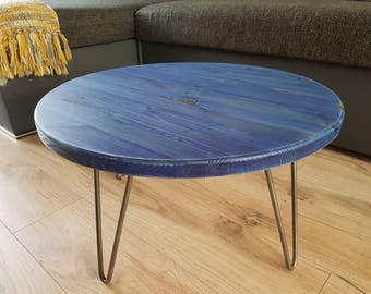 Rustic Industrial Wooden Round Site Coffee Table Metal Hairpin Legs