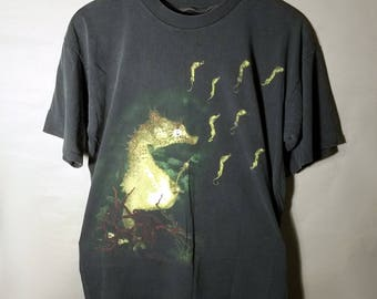 90s 1993 Nirvana RARE Seahorses All Apologies Promo Tee Sz Large XL In Utero Come As You Are Concert Authentic Vintage Kurt Cobain Grunge