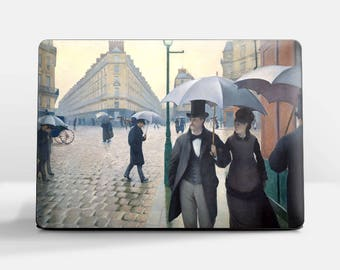 """Laptop skin (Custom size). Gustave Caillebotte, """"Paris Street, Rainy Day"""". Laptop cover, HP, Lenovo, Dell, Sony, Asus, Samsung etc."""