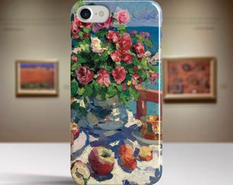 """Konstantin Korovin, """"Still Life with Roses..."""". iPhone 8 Case Art iPhone 7 Case iPhone 6 Plus Case and more. iPhone 8 TOUGH cases."""
