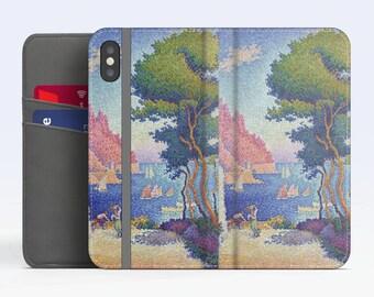"Paul Signac, ""Capo di Noli"". iPhone X Wallet case iPhone 8 Wallet case  iPhone 7 Plus Wallet case. Samsung Wallet cases."