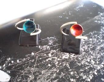 Sapphire (Handmade earrings. Glass Paint.Sterling silver 925.)