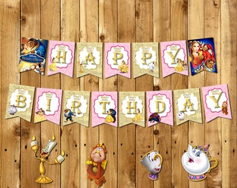 Beauty and the Beast Banner, Beauty and the Beast Birthday Banner,PRINCESS BELLE Banner,Princess Belle Birthday Banner | BE_BANNER