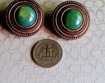 Vintage Green Clip On/Green Bead Clip On/Round Copper Earrings/Imitation Stone Earrings/Lightweight Clip On/Gift Under 10.00/No.053