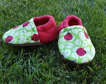 Ladybug Baby Booties