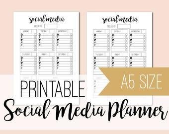 Printable social media planner- undated planner sheets - A5 planner inserts - social media - some - black & white - INSTANT DOWNLOAD
