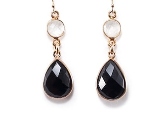 Black Onyx and Quartz Gemstone Earrings