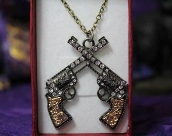 Crossed Guns Pendant Necklace - NIB - 18 in Bronze Chain