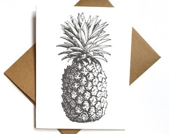Pineapple Note Card With Envelopes, Pineapple Greeting Card, Blank Note Card