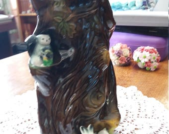 Rabbits and Squirrel Eastgate pottery mint condition large vase.