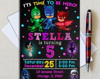 Pj Masks Invitation/ Pj Masks Birthday Invitation/ Pj Masks Party/ Pj Masks Invite/ Pj Masks Printable/ Pj Masks Download/ Pj Masks Girl