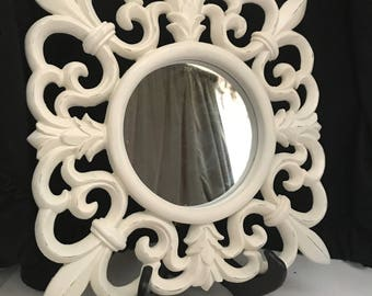 Wall Mirror, Shabby Chic Mirror, Fleur-De-Lis, Upcycled Mirror,