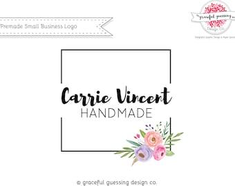 Modern Floral Logo - Affordable Branding - Small Business Logo Design - Business Card Logo Design - Square Logo - Floral Watercolor Logo