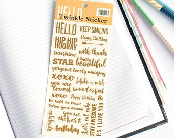 Stickers - Be Positive Gold Foil | Gold Stickers | Foil Stickers | Diary Stickers | Scrapbooking Stickers | Gift Stickers | Wedding