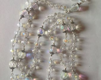 Long clear crystal glass beaded necklace flapper necklace handmade necklace clear crystal long necklace statement necklace beaded necklace