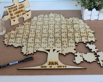Fast Shipping  Wedding puzzle guestbook puzzle - guest book - guestbook personalised wedding puzzle-Tree Wedding Puzzles-Guest book