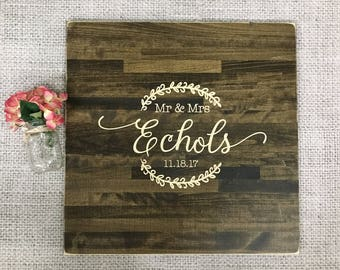 Wood Guest Book Alternative | Rustic Wedding Decor | Wood Guest Book | Personalized Guest Book | Family Name Sign | Carved Wood