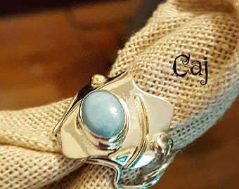 Larimar Statement Ring Sterling & 14 kt. Gold