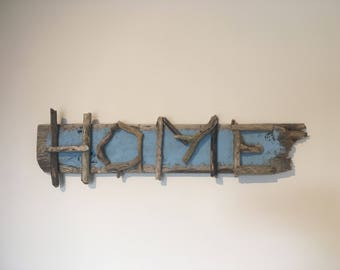 Driftwood 'Home' sign