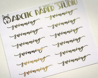 Swimming SCRIPTS - FOILED Sampler Event Icons Planner Stickers