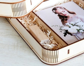 5 Wooden photo box for 4 x 6 photo packaging with compartment for USB | 15x10 cm photo and USB box