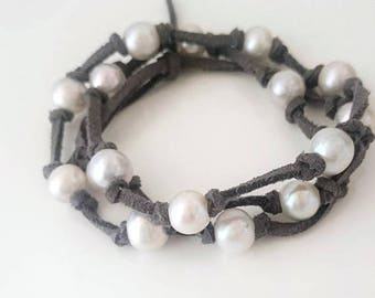 ON SALE Wrap gray bracelet with huge natural pearls