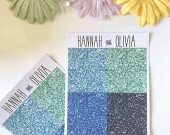 Glitter Headers - ECLP/Happy Planner - blue Matte Stickers / Planner Stickers