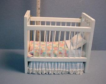 Dollhouse Miniature White Crib