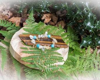 Citrine strands bracelet / aquamarine beads 8 mm
